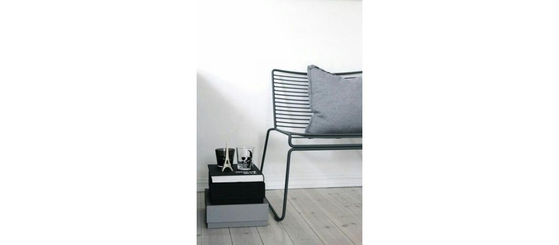 Hee lounge chair black metal fauteuil